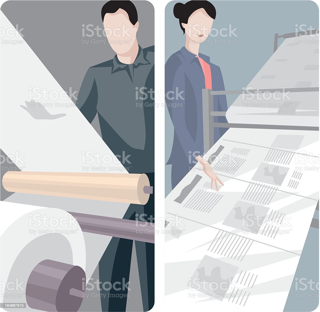 Two illustrations of a man and woman working with newsprint royalty-free stock vector art