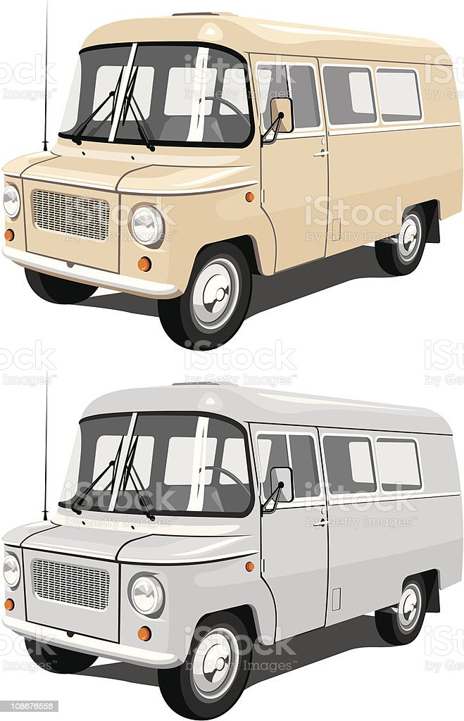 Two illustrations of different colored school buses royalty-free stock vector art