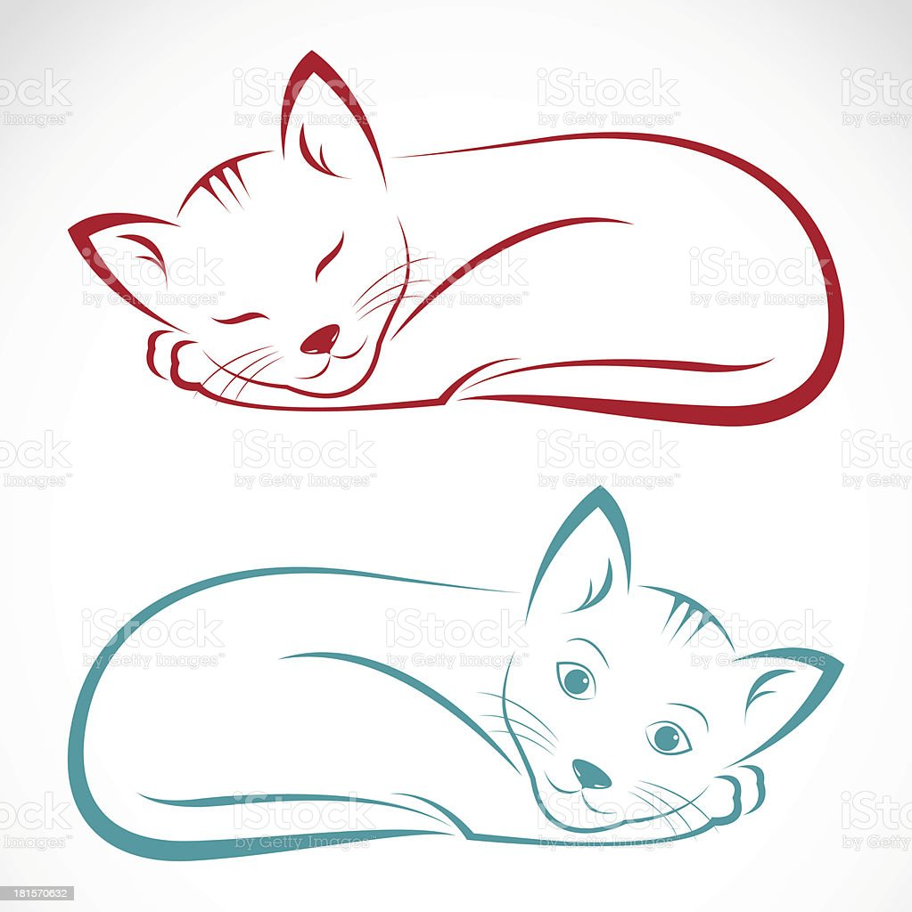 Two illustrations of sleeping cats in red and blue royalty-free stock vector art
