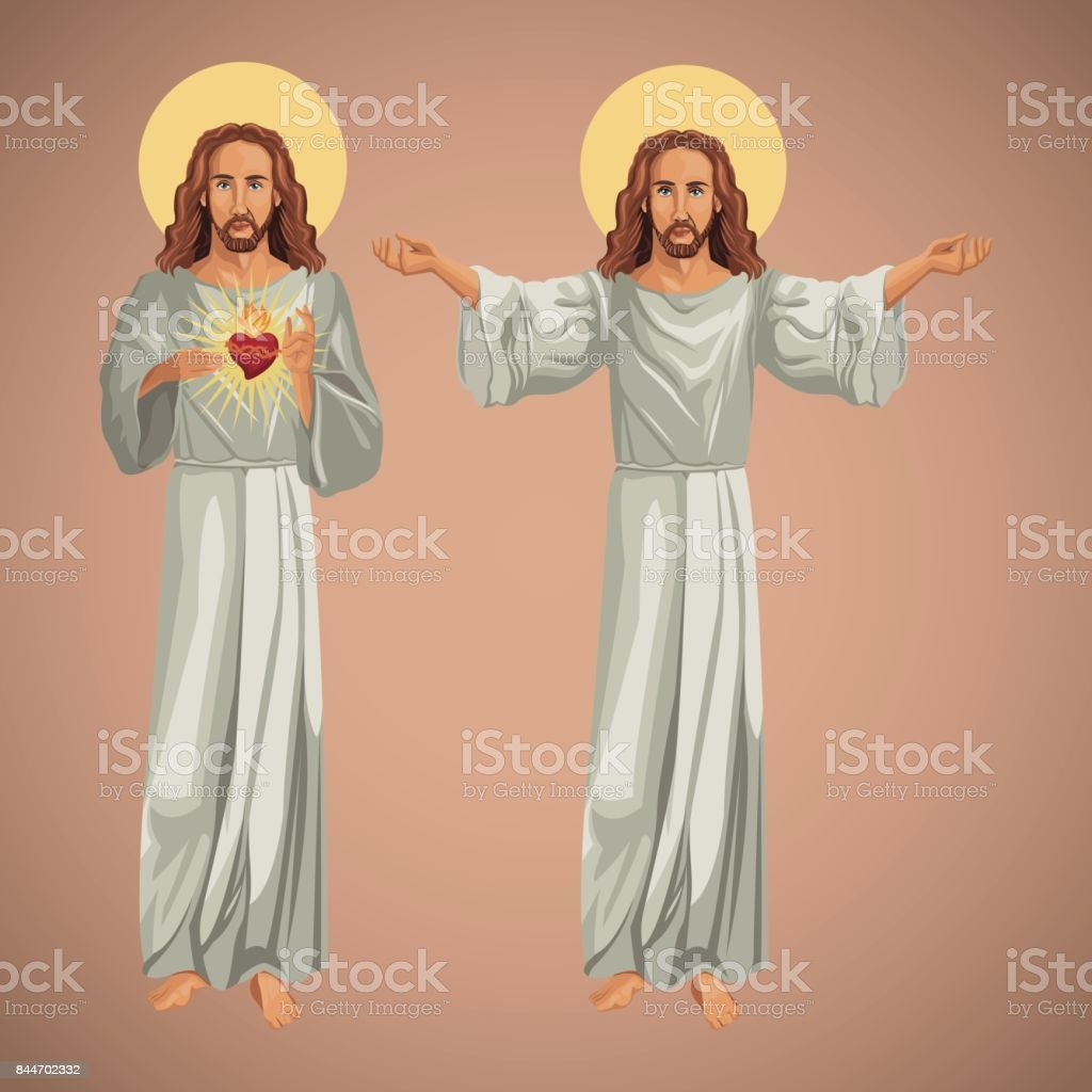 two image jesus christ christianity vector art illustration