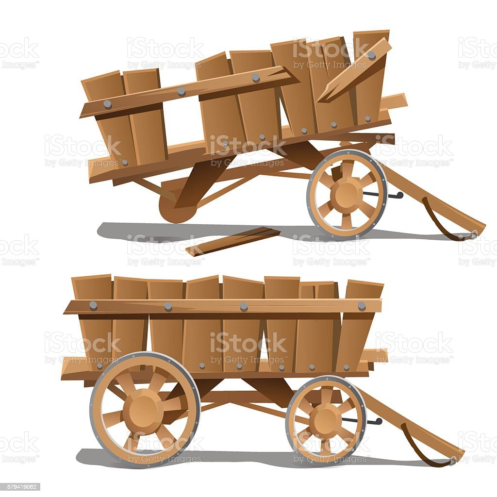 Two images of old wooden carts, new and broken vector art illustration