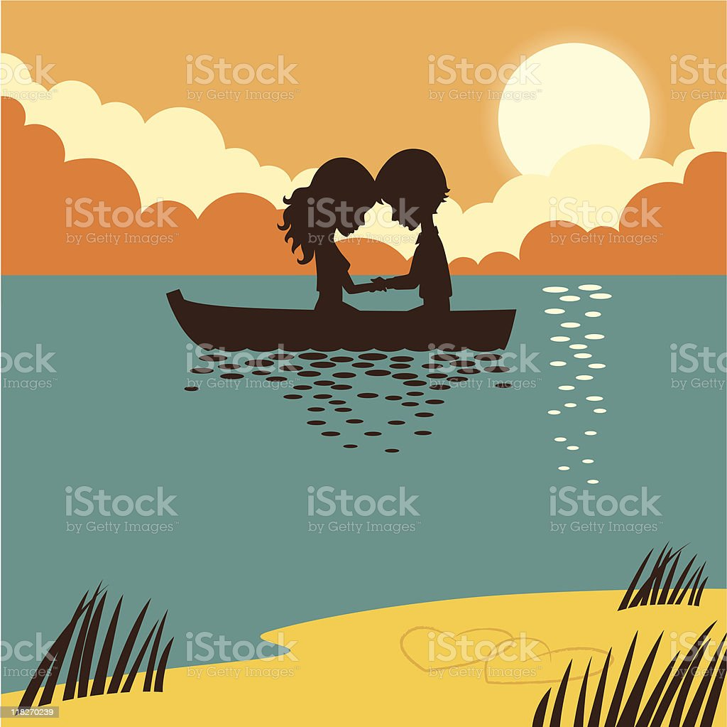 Two in a boat. royalty-free stock vector art