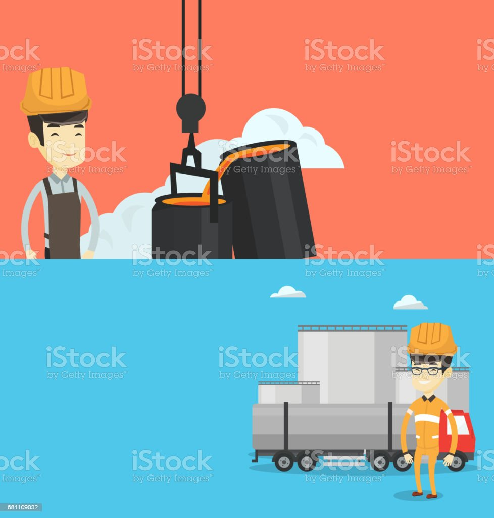 Two industrial banners with space for text vector art illustration