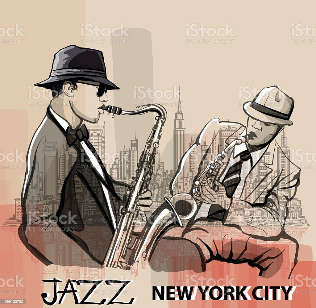 Two Jazz saxophonists playing in New York vector art illustration