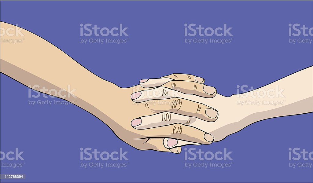 Two joined hands royalty-free stock vector art
