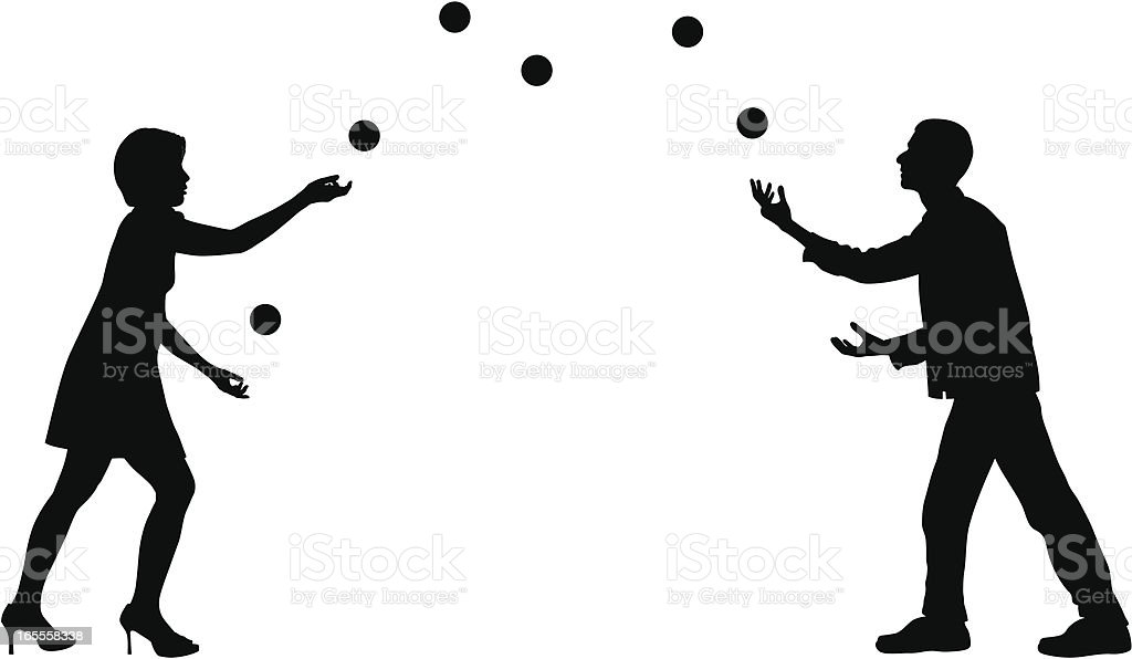 Two Jugglers vector art illustration