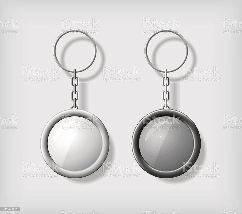 Two key chain pendants mockup vector art illustration