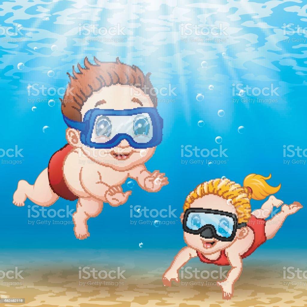 Two kids diving underwater vector art illustration