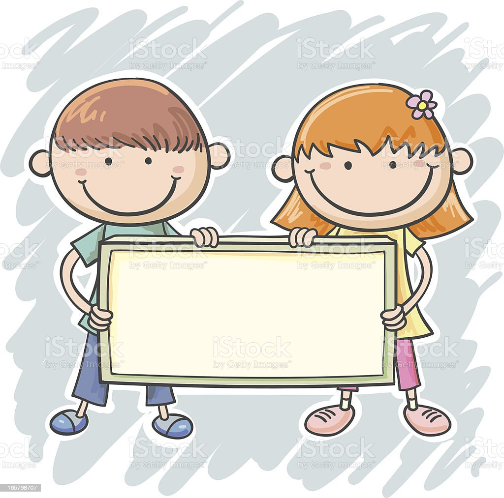 Two Kids holding a banner royalty-free stock vector art