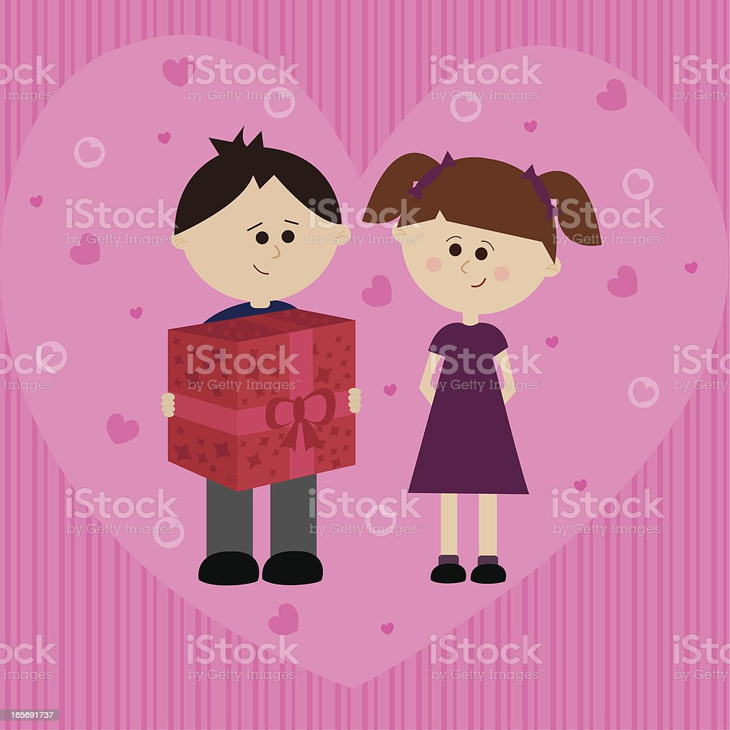 Two Kids in Love royalty-free stock vector art
