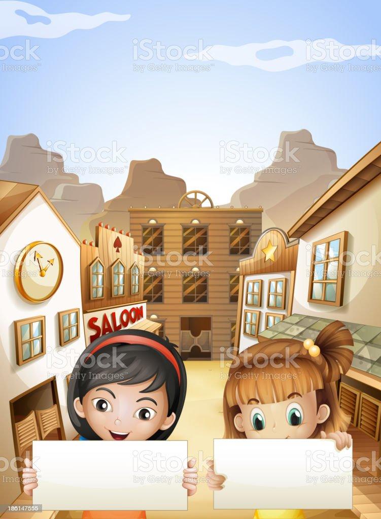 Two kids near saloon bars holding empty signboards vector art illustration