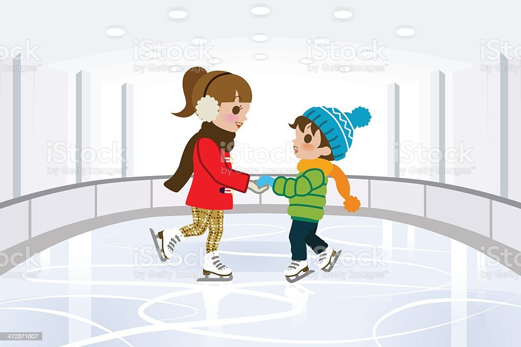 Two kids on Indoor skating rink royalty-free stock vector art