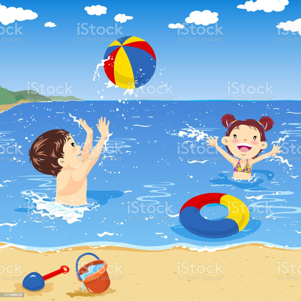 Two kids playing beach ball on the seaside vector art illustration
