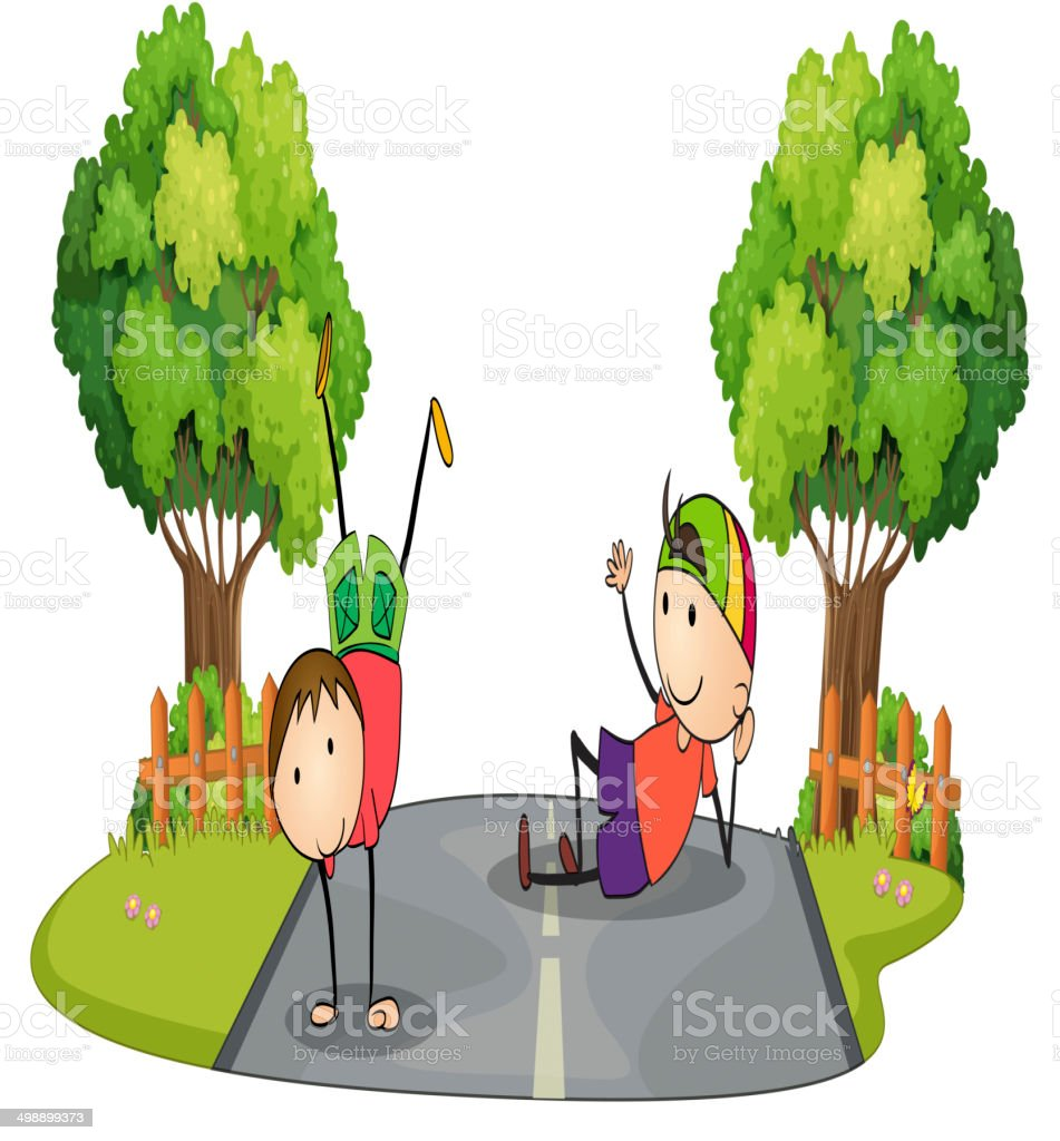 Two kids playing in the middle of the road vector art illustration