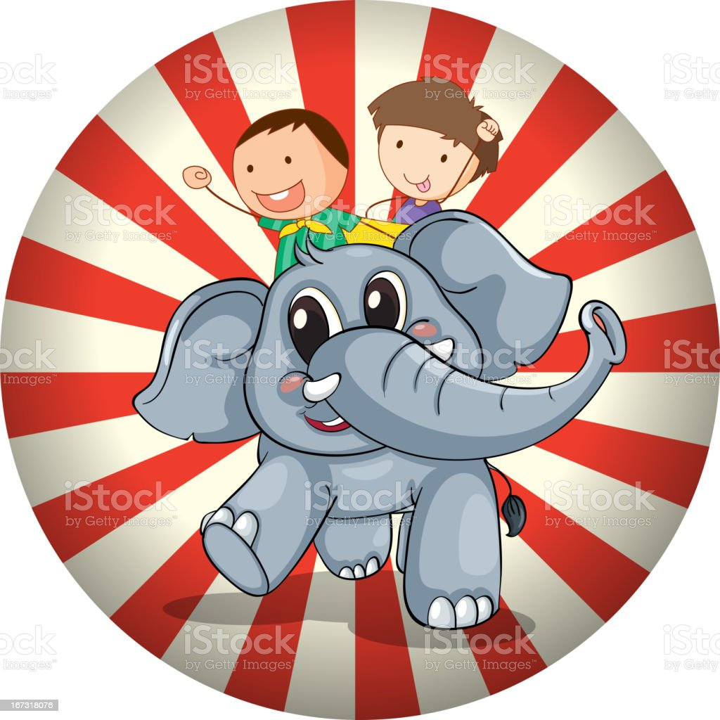 Two kids riding at the back of a gray elephant royalty-free stock vector art