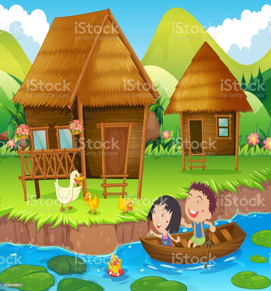 Two kids rowing boat in the river vector art illustration