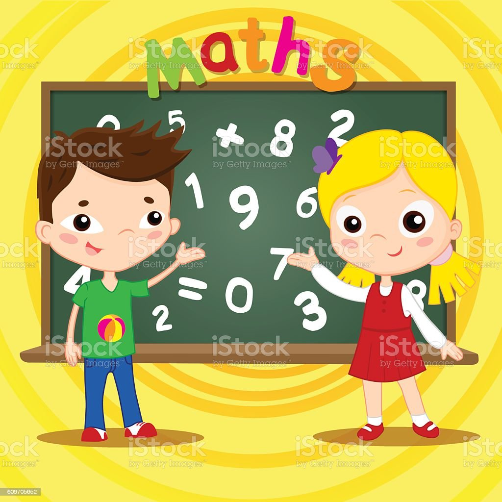 Two kids standing near blackboard . Back to school concept. Vector royalty-free stock vector art