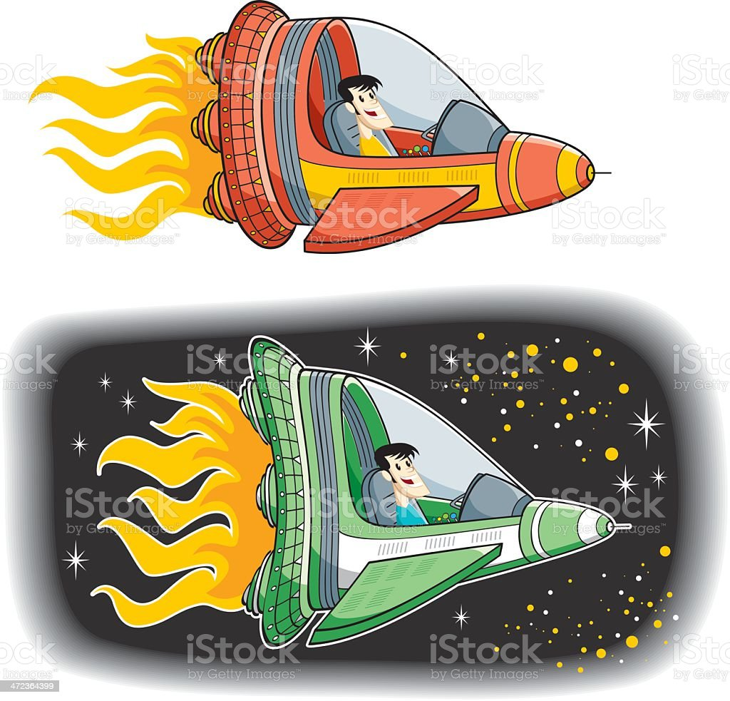 two kind spaceship vector with pilot or less... vector art illustration