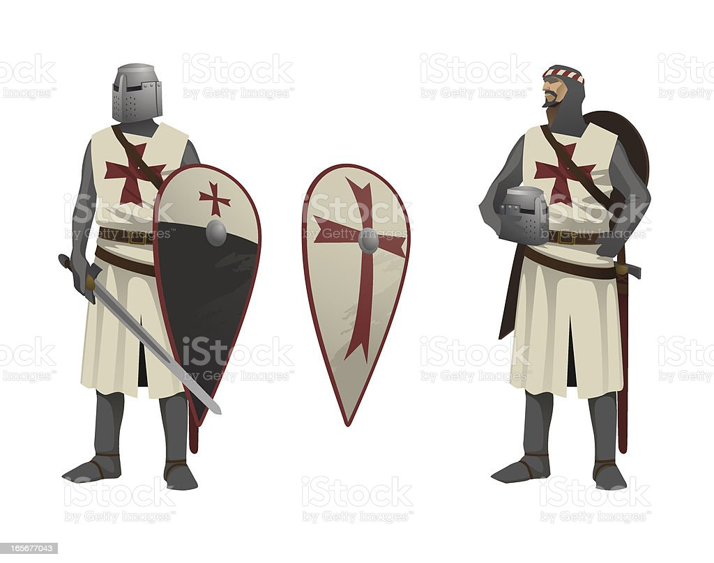 Two Knights Templar vector art illustration