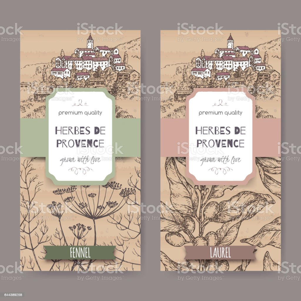 Two labels with Provence town landscape, fennel and laurel sketch. vector art illustration