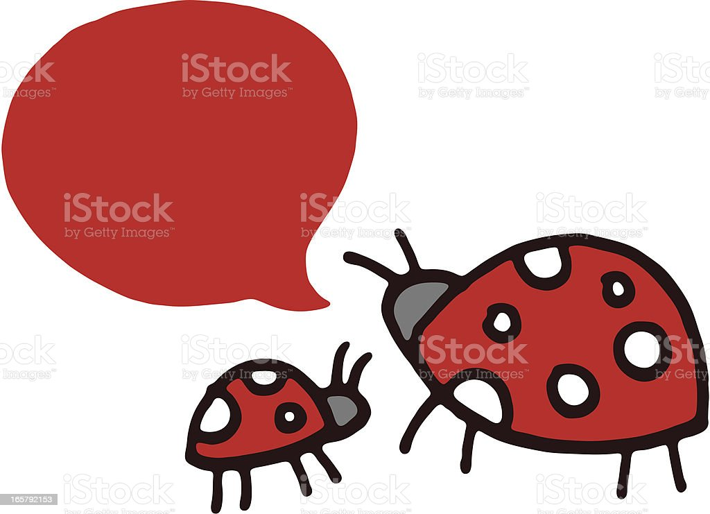 Two ladybirds and a speech bubble royalty-free stock vector art