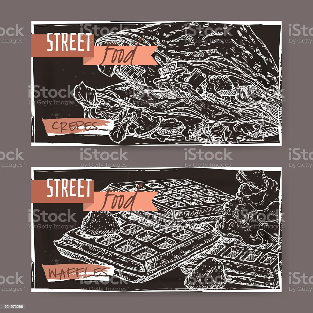 Two landscape banners crepes and with Liege waffles on black. vector art illustration
