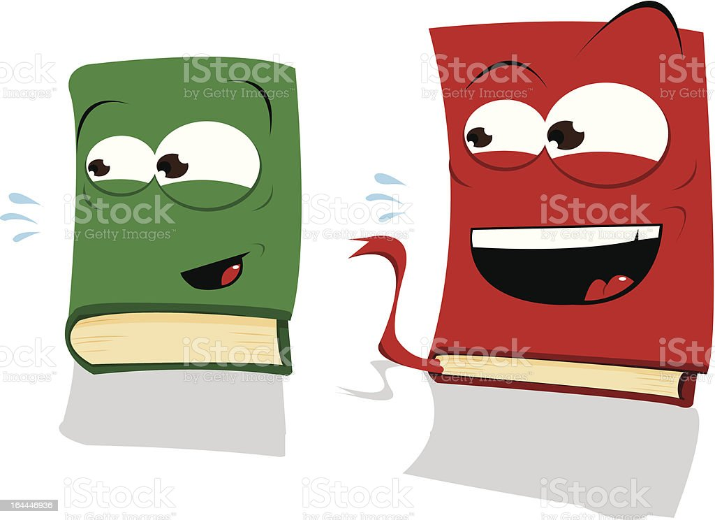 Two Laughing Books vector art illustration