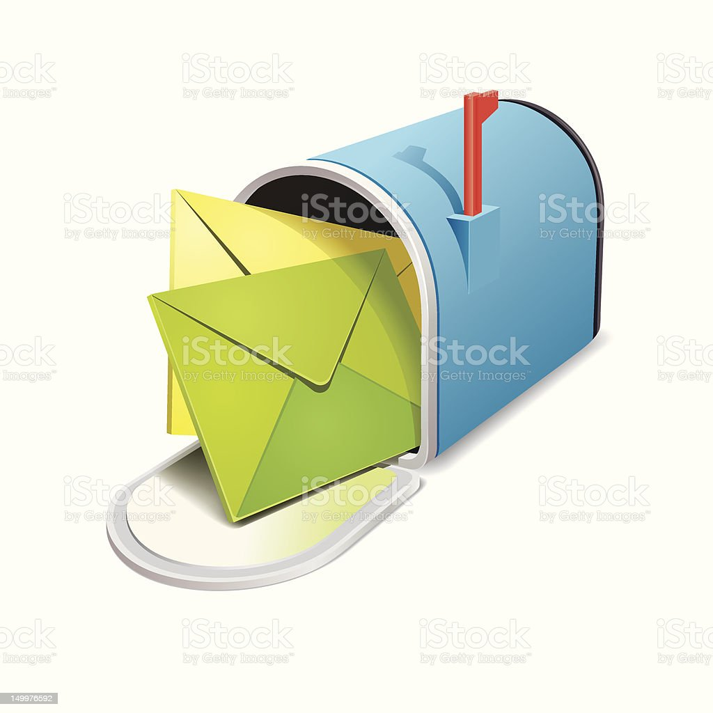 Two letters coming out of a blue mailbox vector art illustration