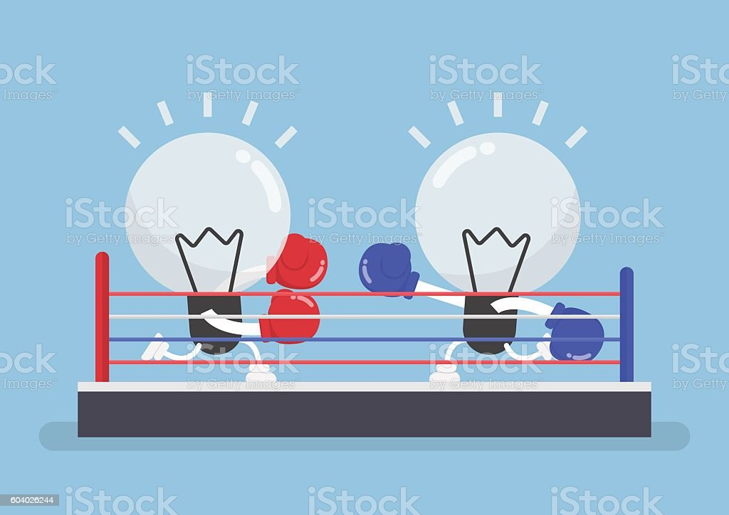 Two light bulb wearing boxing gloves fighting in boxing ring vector art illustration