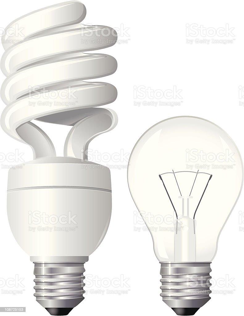 Two Light Bulbs vector art illustration