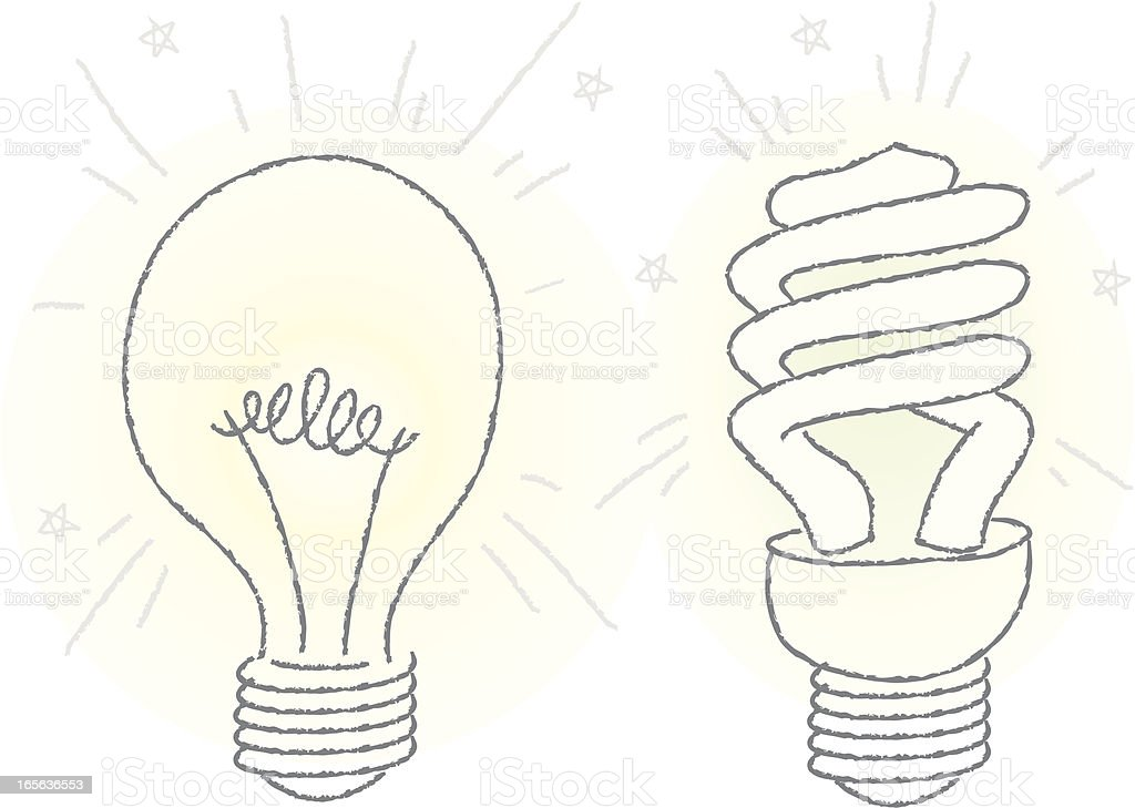 Two Lightbulbs vector art illustration