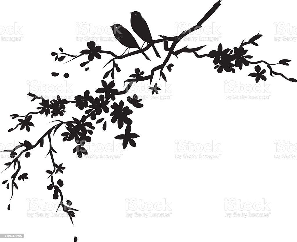 Two little birds sitting on Cherry blossoms branch black silhouette vector art illustration
