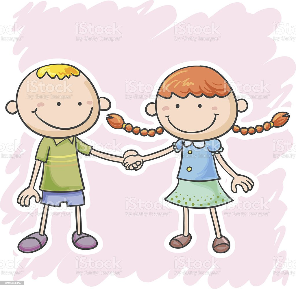 Two little boy and girl are holding hands royalty-free stock vector art