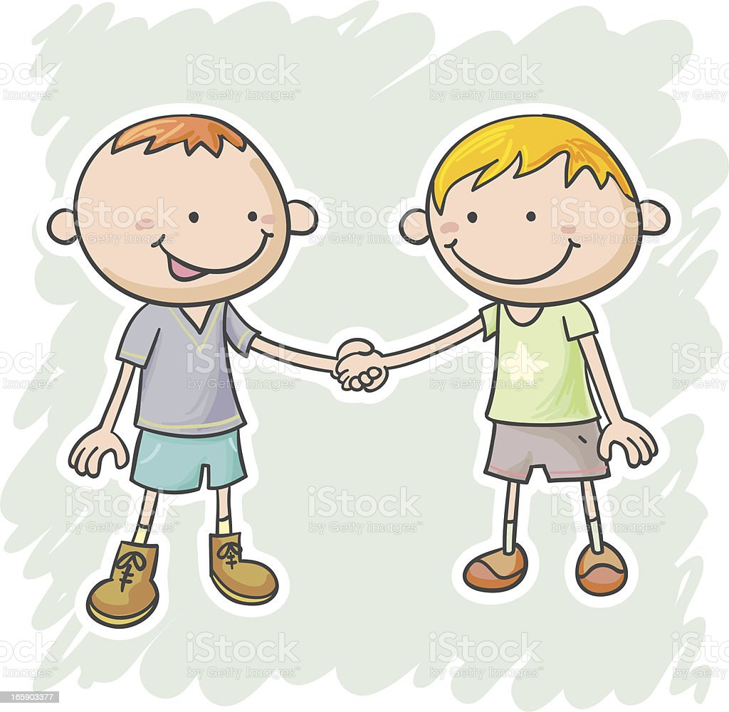 Two little boys are holding hands royalty-free stock vector art