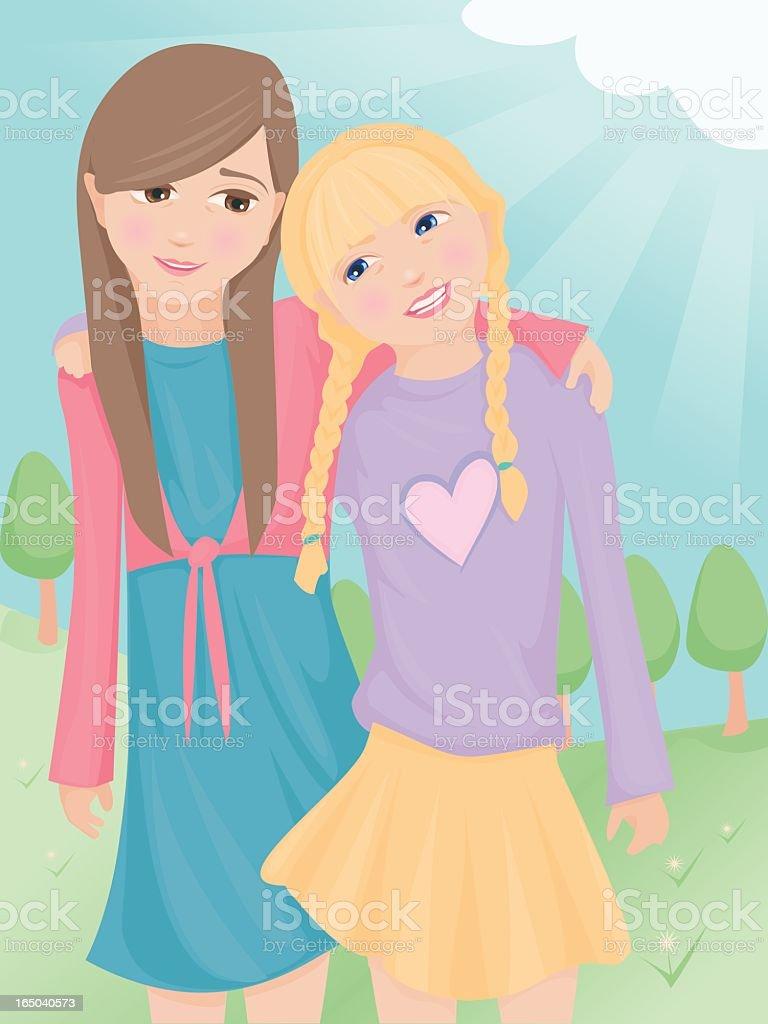 Two little girl best friends. vector art illustration