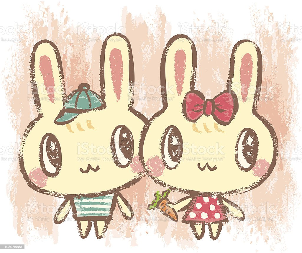 Two little  rabbits vector art illustration