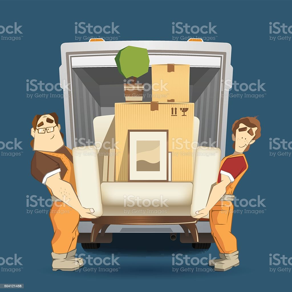 Two loaders movers man holding and carrying armchair vector art illustration