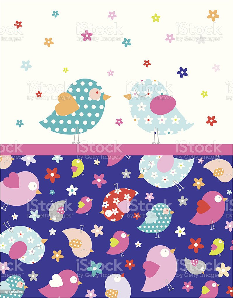 Two Love Birds with Floral Border Stripe royalty-free stock vector art