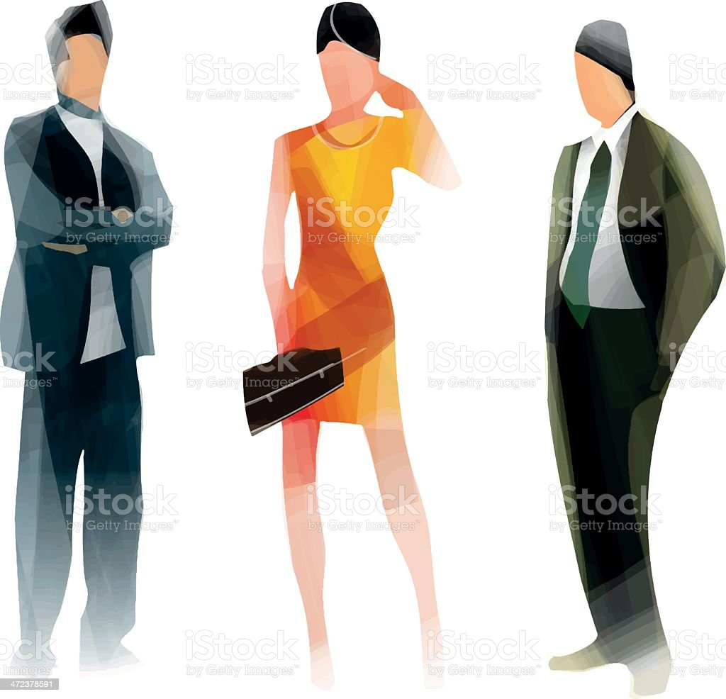 Two male and one female abstract business people vector art illustration
