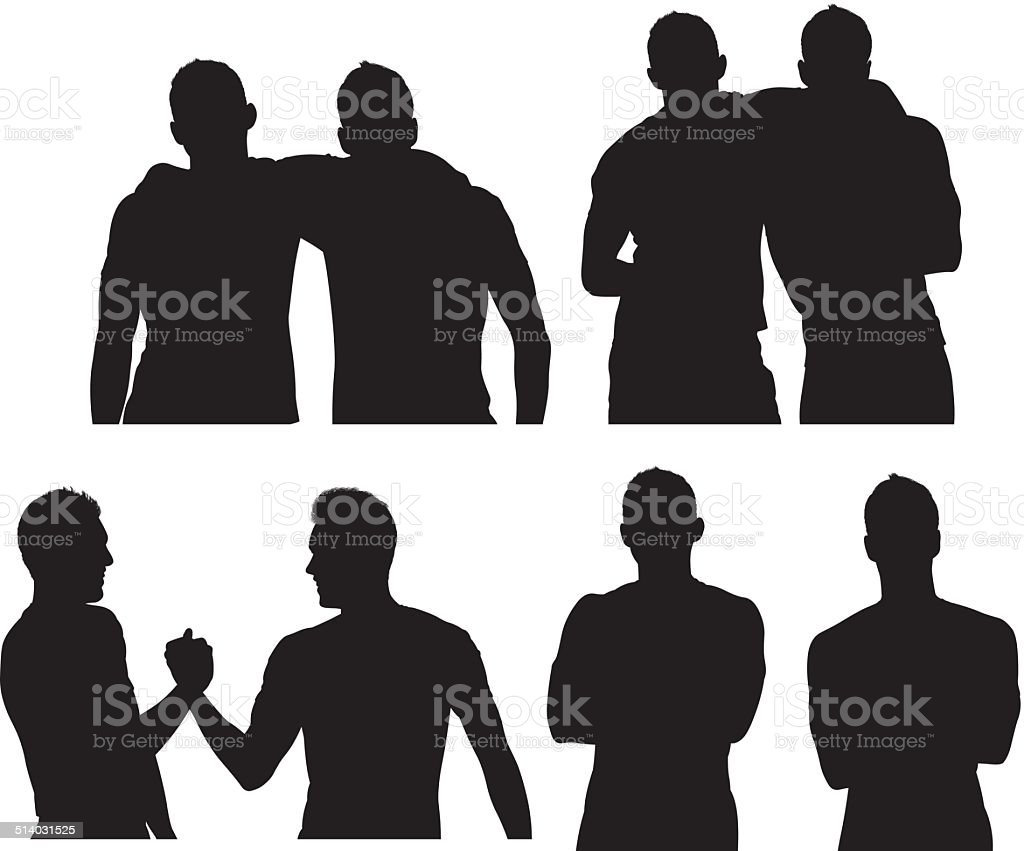 Two male friends vector art illustration