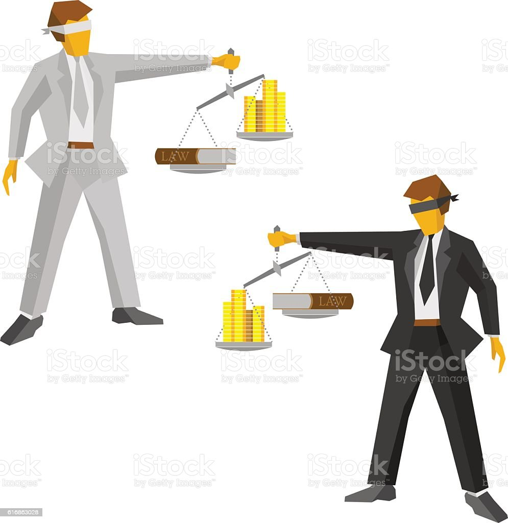 Two man in black and white with balance. Legal concept. vector art illustration