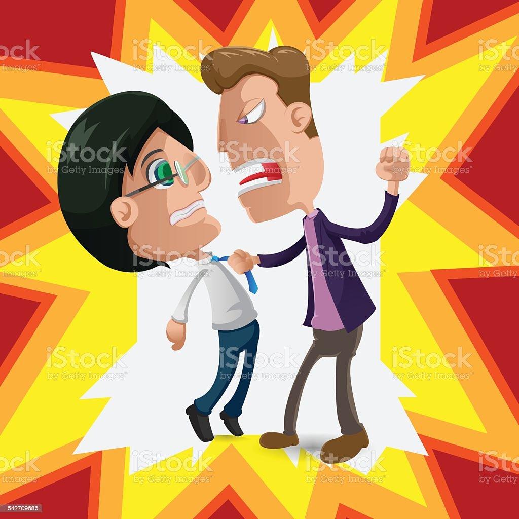 Two Man Intimidate Fight Cartoon Vector vector art illustration