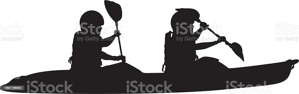 Two Man Kayak Silhouette royalty-free stock vector art
