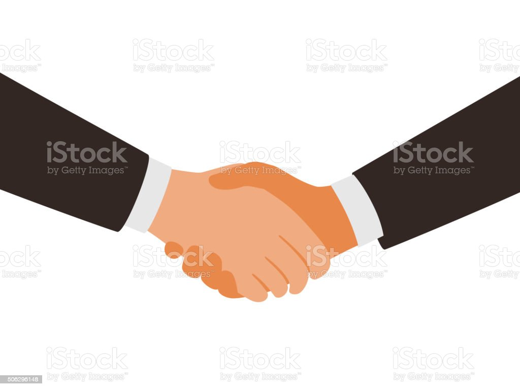two man shaking hands vector art illustration
