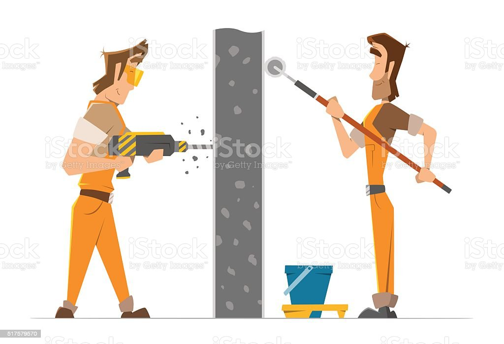 Two man worker drill and paint a wall vector art illustration