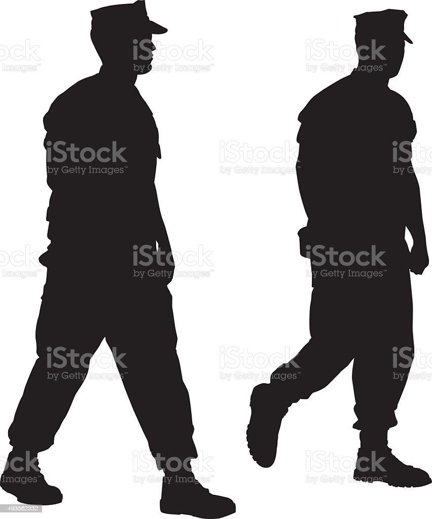 Two marines Walking vector art illustration