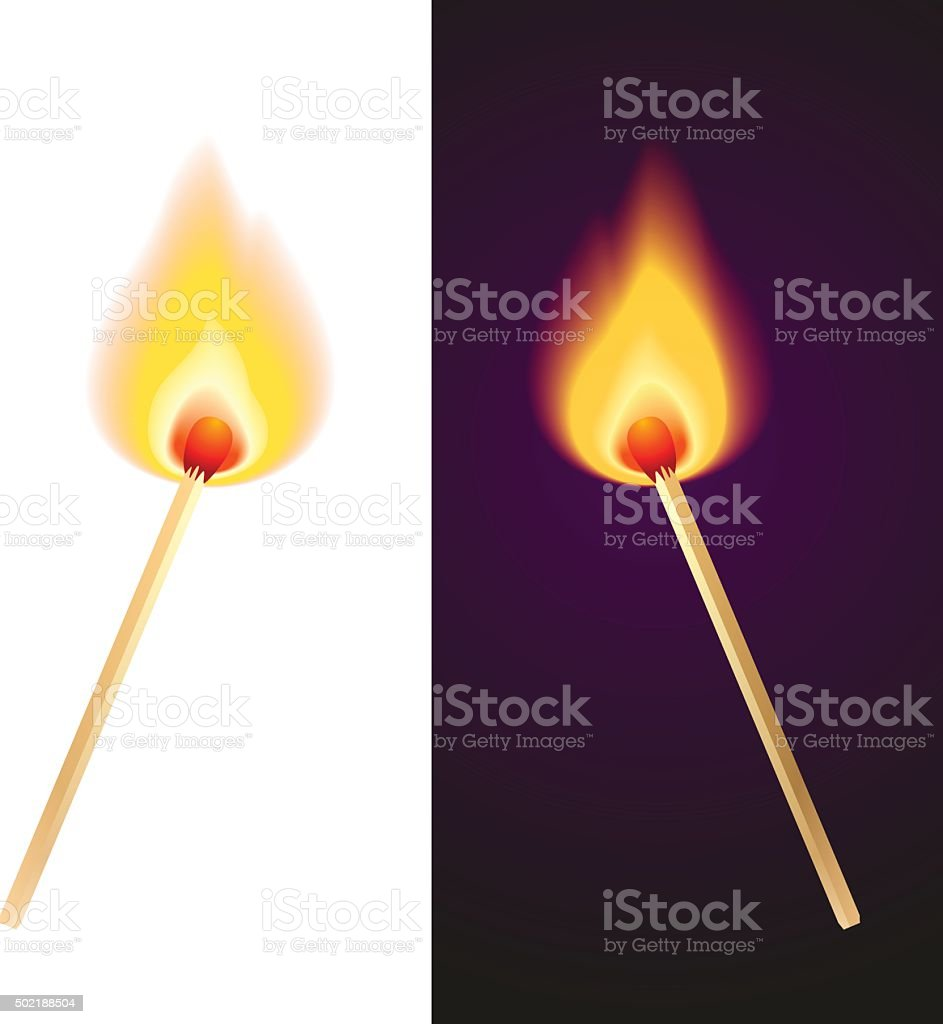 two matches vector art illustration