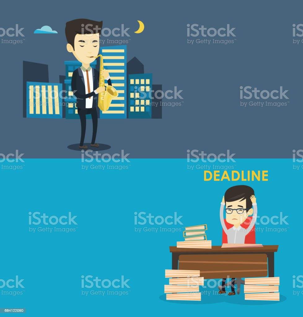 Two media banners with space for text vector art illustration
