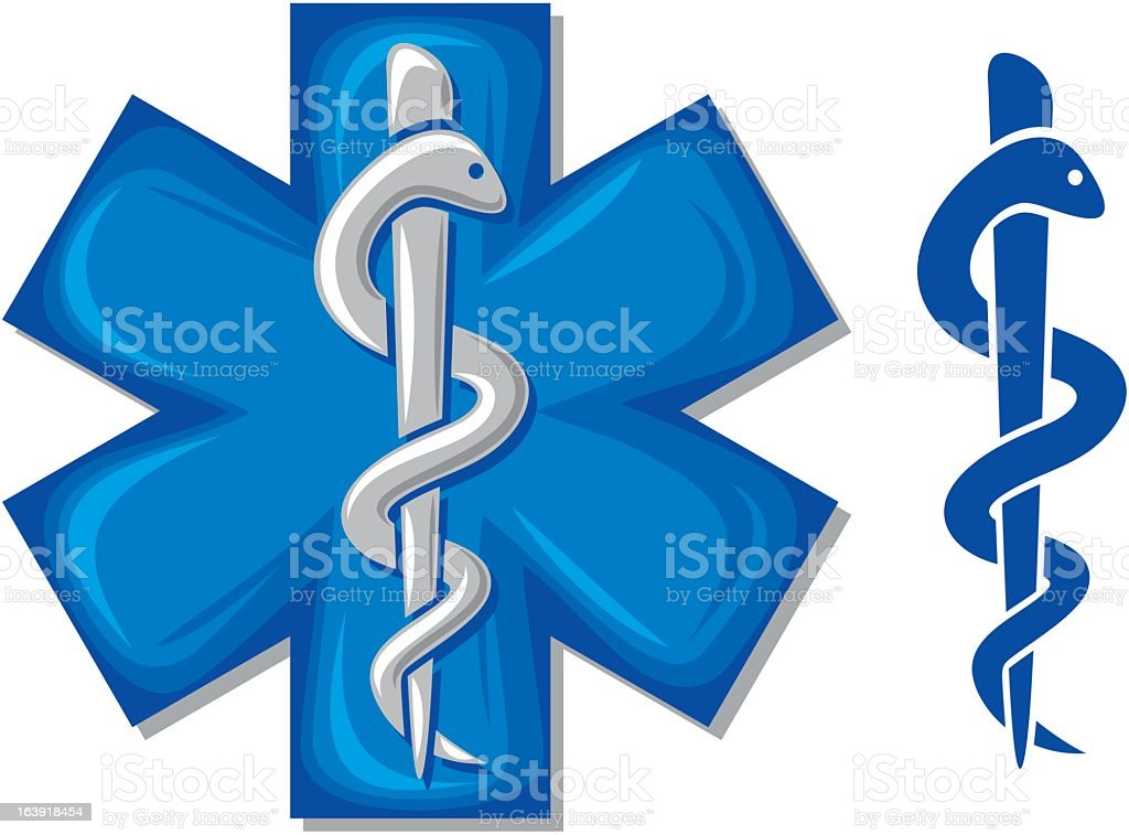 Two medical snake and staff symbols in blue royalty-free stock vector art