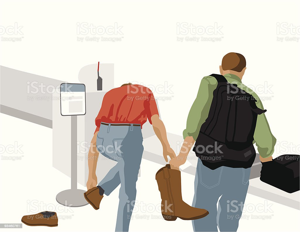 Two Men at Airport Security X-ray royalty-free stock vector art